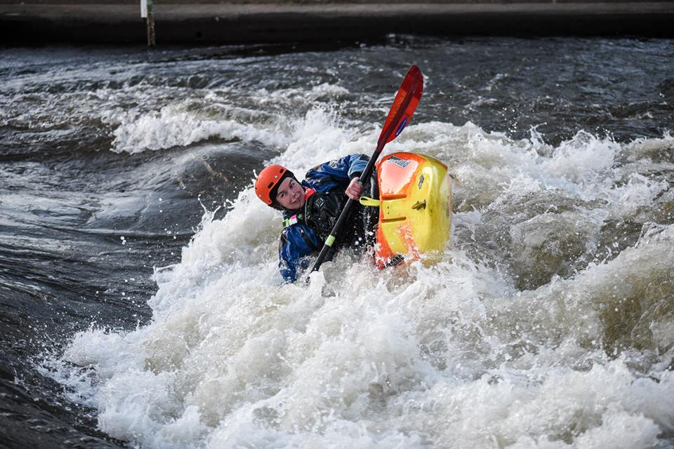 Me falling over in a hole whitewater kayaking at HPP in Nottingham