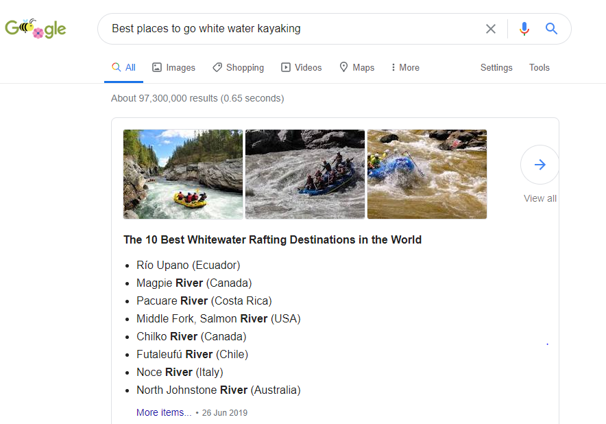 Screenshot of the google page when  you type in 'best places to go white water kayaking'